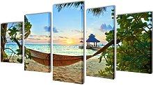 Vidaxl - Canvas Wall Print Set Sand Beach with