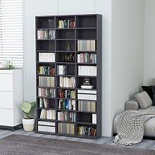 vidaXL CD Cabinet High Gloss Grey 102x23x177.5 cm