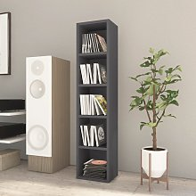 vidaXL CD Cabinet High Gloss Grey 21x16x93.5 cm