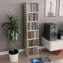 vidaXL CD Cabinet White and Sonoma Oak 21x20x88 cm