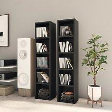 vidaXL CD Cabinets 2 pcs Black 21x16x93.5 cm