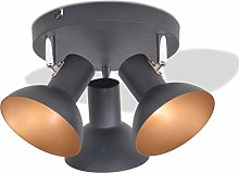 vidaXL Ceiling Lamp 3 Bulbs E27 Black and Gold