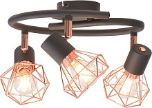 vidaXL Ceiling Lamp with 3 Spotlights E14 Black