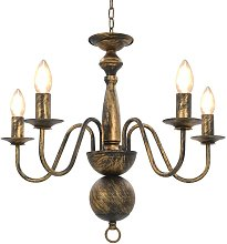 vidaXL Chandelier Antique Black 5 x E14 Bulbs -