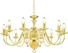 vidaXL Chandelier Golden 12 x E14 Bulbs - Gold