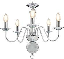 vidaXL Chandelier Silver 5 x E14 Bulbs - Silver