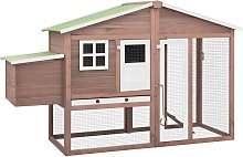 vidaXL Chicken Coop with Nest Box Mocha and White