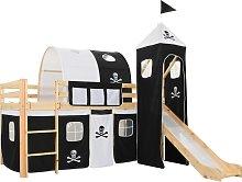 vidaXL Children's Loft Bed Frame with Slide &