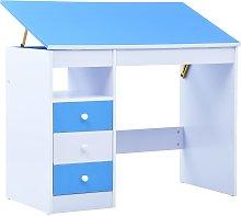 vidaXL Children Drawing Study Desk Tiltable Blue