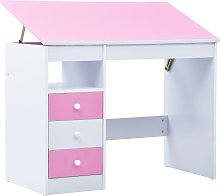 vidaXL Children Drawing Study Desk Tiltable Pink