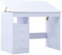vidaXL Children Drawing Study Desk Tiltable White