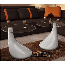 vidaXL Coffee Table 2 pcs with Round Glass Top