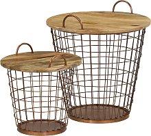 vidaXL Coffee Table/Basket Set 2 Pieces Solid