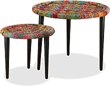vidaXL Coffee Table Set 2 Pieces Chindi Weave