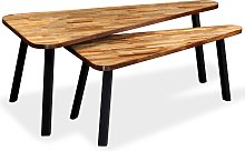 vidaXL Coffee Table Set 2 Pieces Reclaimed Teak