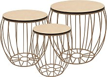 vidaXL Coffee Table Set 3 Pieces Poplar Plywood