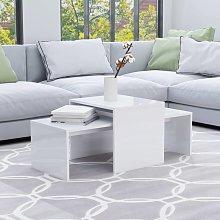 vidaXL Coffee Table Set High Gloss White 100x48x40