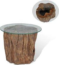 vidaXL Coffee Table Teak Glass 50x40 cm