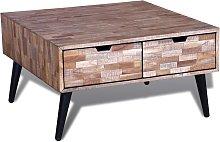 vidaXL Coffee Table with 4 Drawers Reclaimed Teak