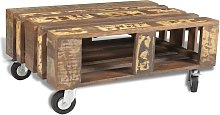 vidaXL Coffee Table with 4 Wheels Reclaimed Wood