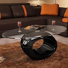 vidaXL Coffee Table with Oval Glass Top High Gloss