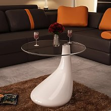 vidaXL Coffee Table with Round Glass Top High