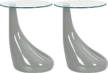 vidaXL Coffee Tables 2 pcs with Round Glass Top