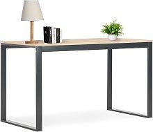 vidaXL Computer Desk Black and Oak 120x60x70 cm