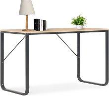 vidaXL Computer Desk Black and Oak 120x60x73 cm