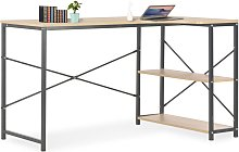vidaXL Computer Desk Black and Oak 120x72x70 cm