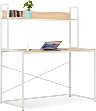 vidaXL Computer Desk White and Oak 120x60x138 cm