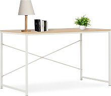 vidaXL Computer Desk White and Oak 120x60x70 cm