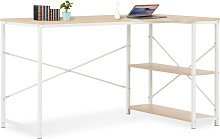 vidaXL Computer Desk White and Oak 120x72x70 cm