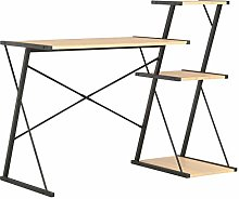 vidaXL Computer Desk with 3 Tier Bookcase X-Shape
