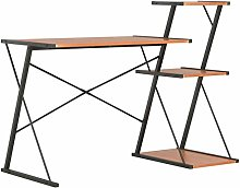 vidaXL Computer Desk with 3 Tier Bookcase X-Shape