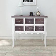 vidaXL Console Cabinet 6 Drawers Brown and White