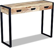 vidaXL Console Table with 3 Drawers Solid Mango
