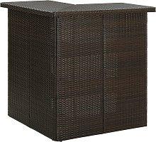 vidaXL Corner Bar Table Brown 100x50x105 cm Poly
