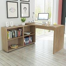 vidaXL Corner Desk 4 Shelves Oak