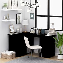 vidaXL Corner Desk Black 145x100x76 cm Chipboard