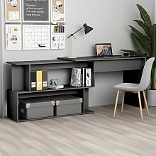 vidaXL Corner Desk Grey 200x50x76 cm Chipboard