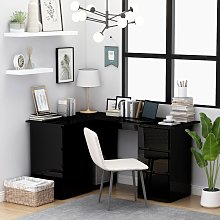 vidaXL Corner Desk High Gloss Black 145x100x76 cm