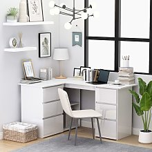 vidaXL Corner Desk High Gloss White 145x100x76 cm