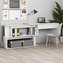vidaXL Corner Desk High Gloss White 200x50x76 cm