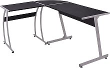 vidaXL Corner Desk L-Shaped Black