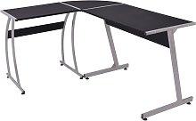 vidaXL Corner Desk L-Shaped Black