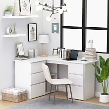 vidaXL Corner Desk White 145x100x76 cm Chipboard