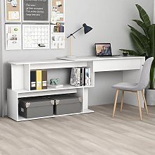 vidaXL Corner Desk White 200x50x76 cm Chipboard