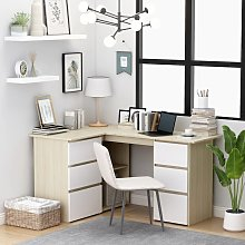 vidaXL Corner Desk White and Sonoma Oak 145x100x76