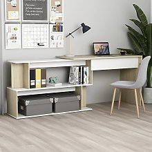 vidaXL Corner Desk White and Sonoma Oak 200x50x76